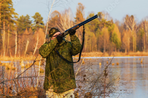 Foto op Canvas Jacht Duck hunting in late autumn