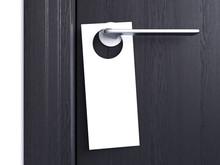 White Door Hanger Tag. 3d Rend...