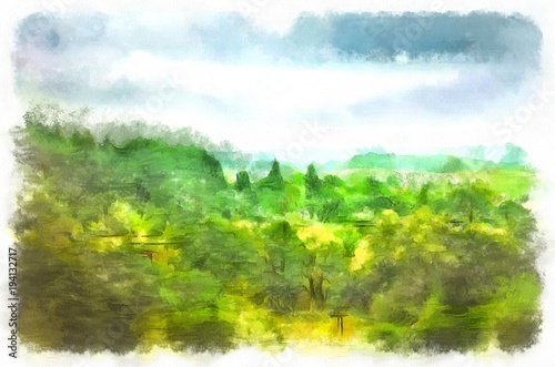 Foto op Canvas Lime groen Watercolor landscape, gloomy summer morning. Rainy sky, hung over the summer, bright green forest