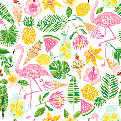 Vector tropical seamless pattern. Summer background Canvas Print