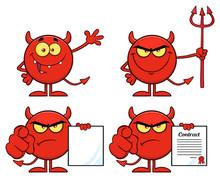 Red Devil Cartoon Emoji Charac...