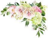 Fototapeta Kwiaty - Wedding bouquet. Peony, Hydrangea and rose flowers watercolor illustrations