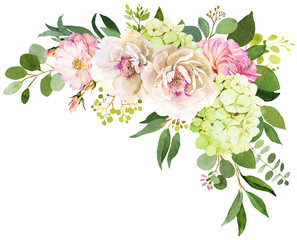 NaklejkaWedding bouquet. Peony, Hydrangea and rose flowers watercolor illustrations