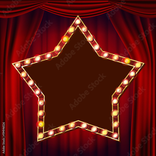 Retro Star Billboard Vector  Red Theater Curtain  Shining Light Sign