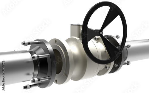 3D model of a steel valves and industrial pipeline - Buy