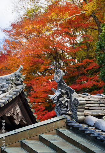 Japanese Buddhist temple roof with traditional metal tiles, ancient
