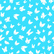 Silhouette Fly Flock Of Butterflies Seamless Pattern Background. Vector