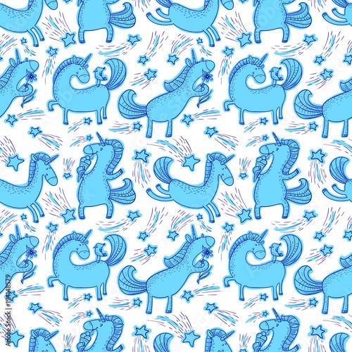 Stoffe zum Nähen Hintergrund der magischen Einhörner. Nahtlose Muster mit mystischen Pferd in Gekritzelart Kinder.