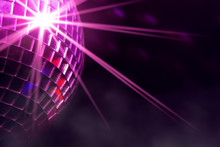 Disco Ball With Violet Star Bu...