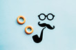Leinwanddruck Bild - Hipster face and moustaches, and accessories gentleman image.