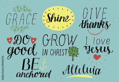 Set Of 8 Hand Lettering Christian Quotes With Symbols I Love Jesus