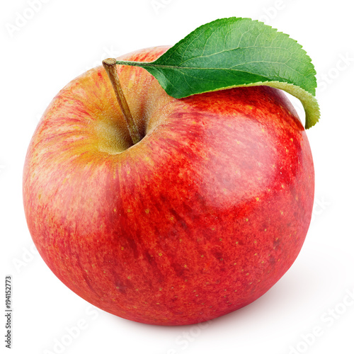 Leinwand Poster Single ripe red apple fruit with green leaf isolated on white background with cl