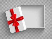 Open Gift Box With Red Bow Isolated On White. Illustration Isolated On A Transparent Background. Vector EPS10