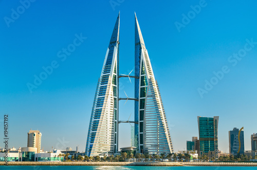 Photo Bahrain World Trade Center in Manama. The Middle East