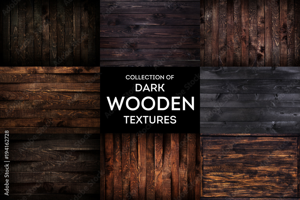 Fototapety, obrazy: Dark wooden background or texture with natural pattern, collection