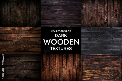 Dark wooden background or texture with natural pattern, collection - 194162728