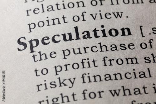 Fotografía definition of speculation