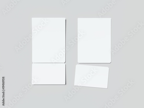 two white tear off tickets 3d rendering buy this stock