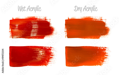 Vector Crimson Red Paint Smear Stroke Stain Set Abstract Glittering Textured Art Ilration