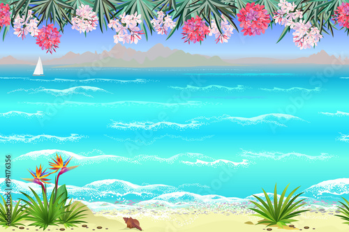 In de dag Turkoois Seamless sea beach landscape with flowers, 4 separated layers ready for parallax effect for game and web design. Hand drawn vector endless looped background.