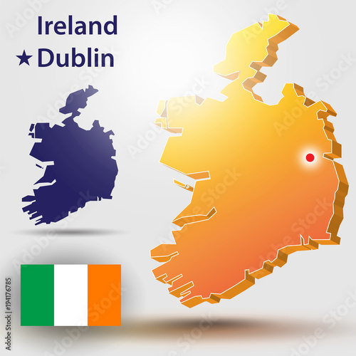 Map Of Ireland Vector Silhouette Of Ireland And The Flag The