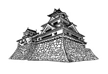 Graphical Sketch Of Matsumoto Castle Isolated On White Background,vector,Japan