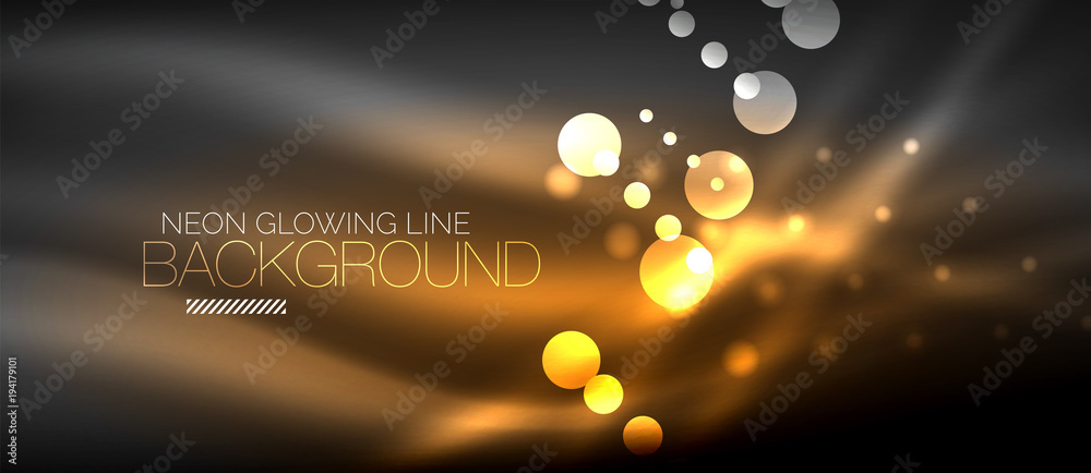 Fototapeta Circle abstract lights, orange neon glowing background