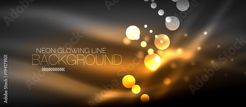 Obraz Circle abstract lights, orange neon glowing background - fototapety do salonu