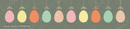 Photo Easter - panoramic banner colorful eggs on floral texture