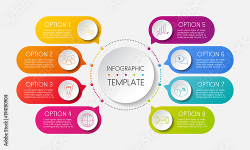 Photo  Infographic template with options and colorful icons. Vector.