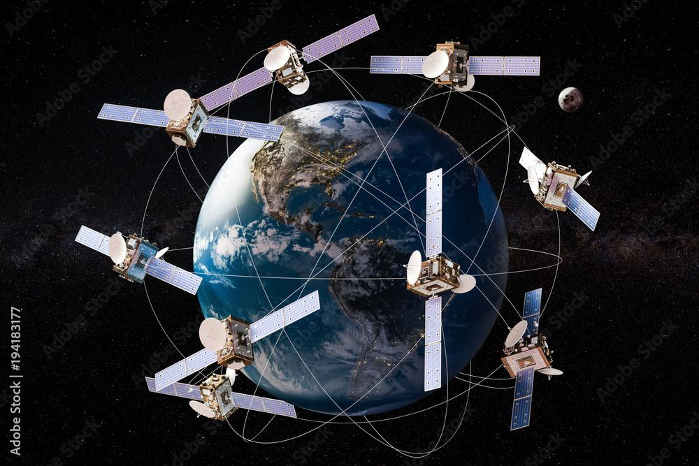 Fototapeta Space satellites in orbits around the Earth Globe, 3D rendering