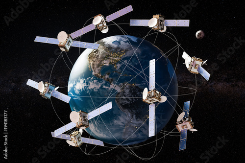 Fotografía  Space satellites in orbits around the Earth Globe, 3D rendering