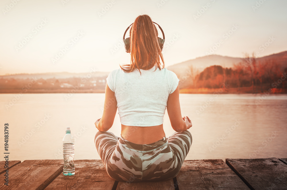 Fototapety, obrazy: Yoga athletic sporty woman relaxing outdoors