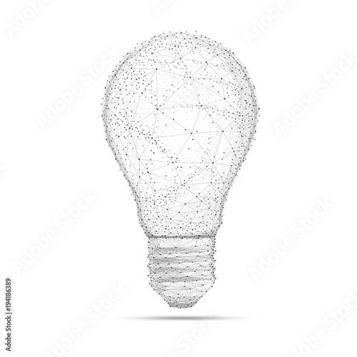 Fotografía  Blockchain technology network polygon idea light bulb isolated on white background
