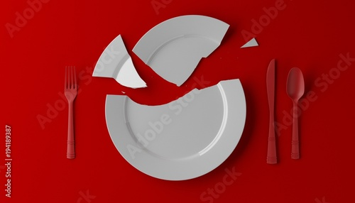 Obraz na płótnie Photorealistic image of a broken white plate on red background