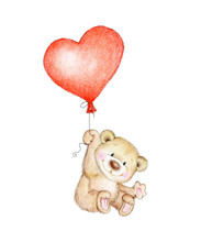 Cute Teddy Bear Flying On Hear...