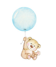 Cute Teddy Bear Flying On Blue...