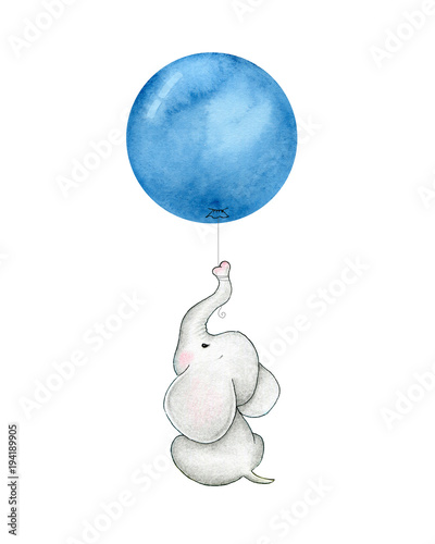 Photo  Baby elephant with blue balloon