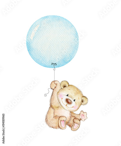 Fotografia, Obraz Cute Teddy bear flying on blue balloon