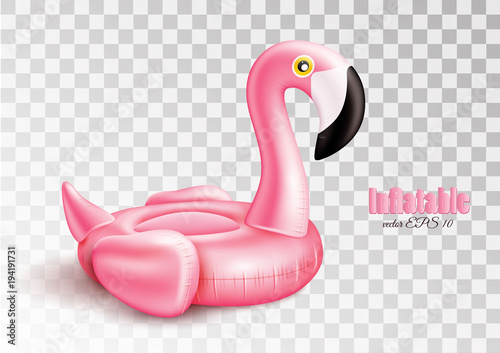 Vector 3d pink flamingo inflatable pool ring