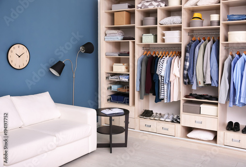 Dressing room interior with big wardrobe Canvas-taulu