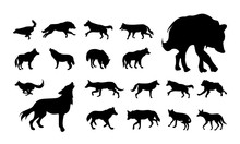 Set Of Various Wolf And Fox Silhouette Vector