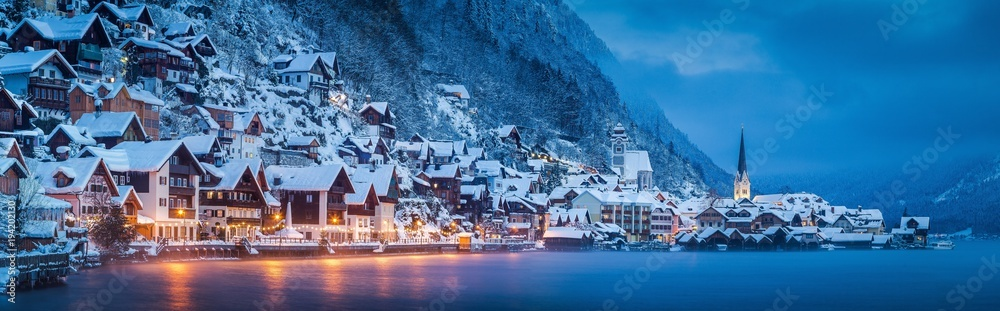 Fototapety, obrazy: Hallstatt twilight panorama in winter, Salzkammergut, Austria