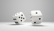 Cubes Dice Two White Dices 3D ...