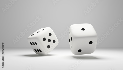 Obraz cubes dice two white dices 3D Rendering - fototapety do salonu