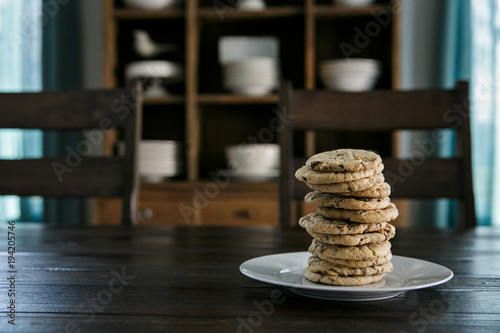 Photo  Stack of Homemade Cookies on a Plate