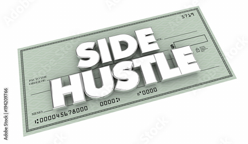 Valokuva  Side Hustle Part Time Freelance Gig Job Check 3d Illustration