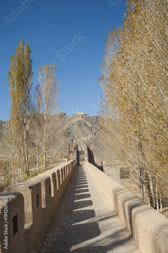 Deurstickers Chinese Muur Great Wall in Jiayuguan(Cantilevel Wall), Gansu of China