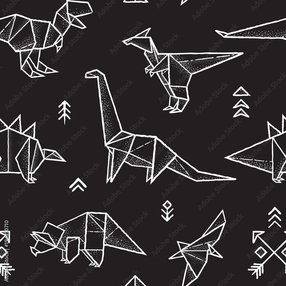 Origami dinosaurs seamless pattern in black and white colors. Hand drawn vector illustration