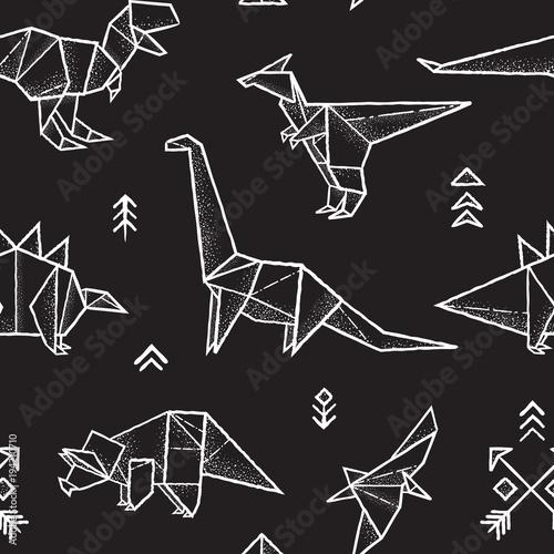 Materiał do szycia Dinozaury bezszwowe wzór origami w kolorach czarnym i białym. Ręcznie rysowane wektor ilustracja